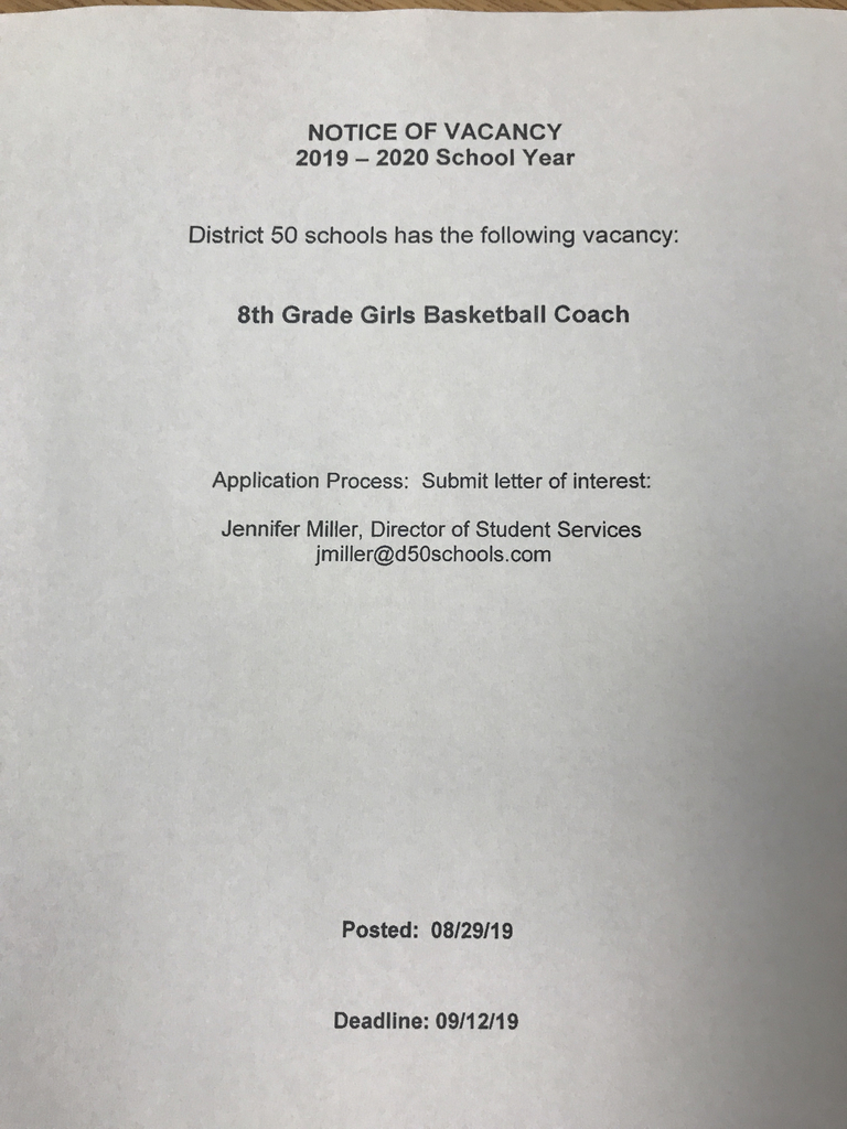 D50 is in need of a girls basketball coach for the 2019-2020 school year. Anyone interested can contact Mrs Miller at Beverly Manor.
