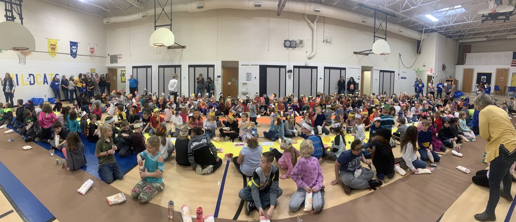 The kids had a great time today with the Wildcat at the Thanksgiving Feast at John L. Hensey
