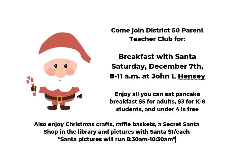 Breakfast with Santa Saturday, December 7th