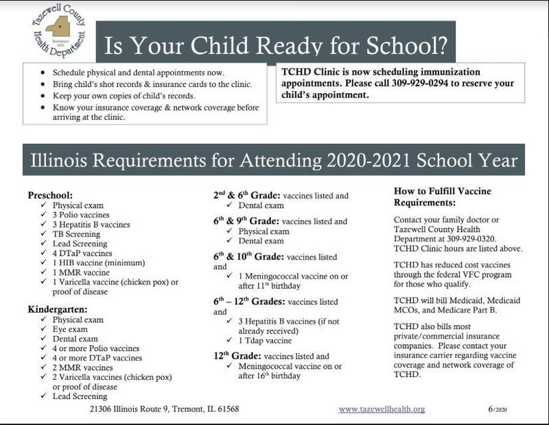 Illinois Student Health & Immunization Requirements for start of 2020-2021 School Year